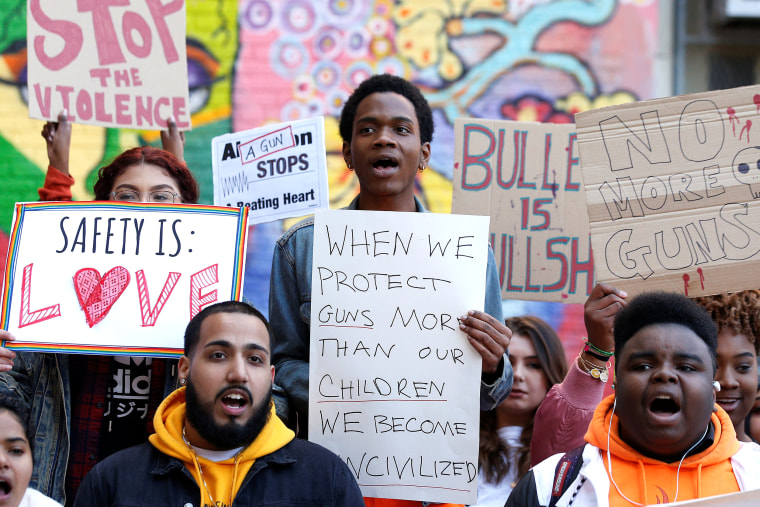 Image: Youths take part in a National School Walkout anti-gun march in New York City