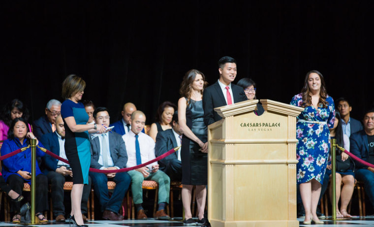 Image: Alton Wang speaks at the 2016 Presidential Election Forum presented by APIAVote and Asian American Journalists Association on Aug. 12, 2016, in Las Vegas, Nevada.
