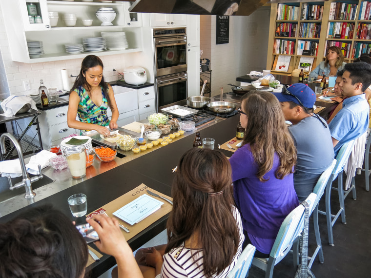 Image: Kiki Aranita teaches a cooking class at Audrey Claire COOK in Philadelphia.