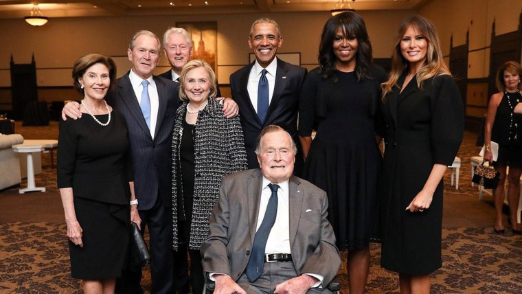 Photo of former U.S. Presidents and first ladies posing with Melania Trump at Barbara Bush's funeral