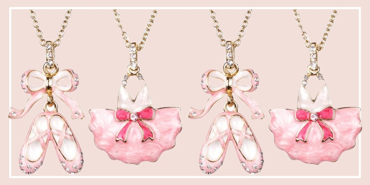 Crystal Adorned Enamel BALLERINA Necklace Set 2