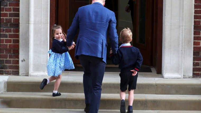 Britain's Prince William arrives at  St Mary's Hospital with his children Prince George and Princess Charlotte