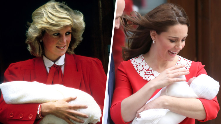 Diana, Princess of Wales leaves the Lindo Wing of St. Mary's Hospital /Prince William, Duke of Cambridge and Catherine, Duchess of Cambridge depart the Lindo Wing