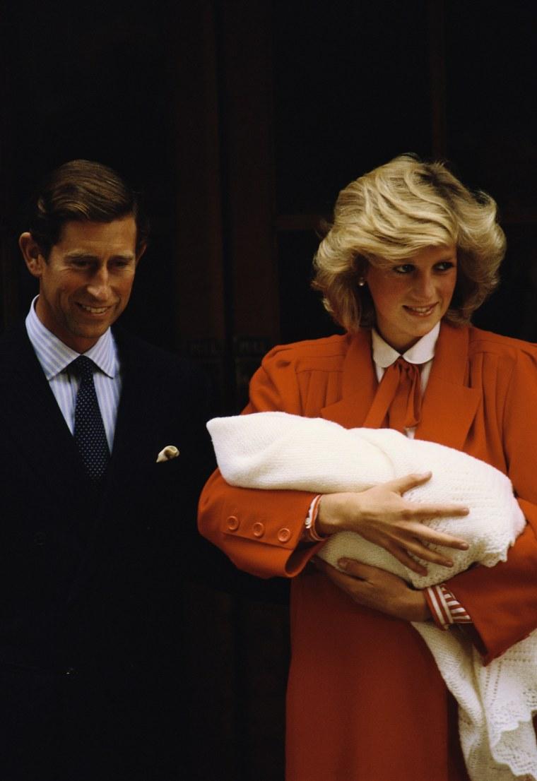 Diana, Princess of Wales and Prince Charles at birth of Prince Harry