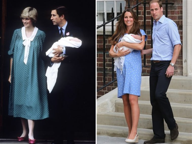 The duchess's polka-dotted gown after the birth of Prince George's also echoed one of Princess Diana's maternity looks.