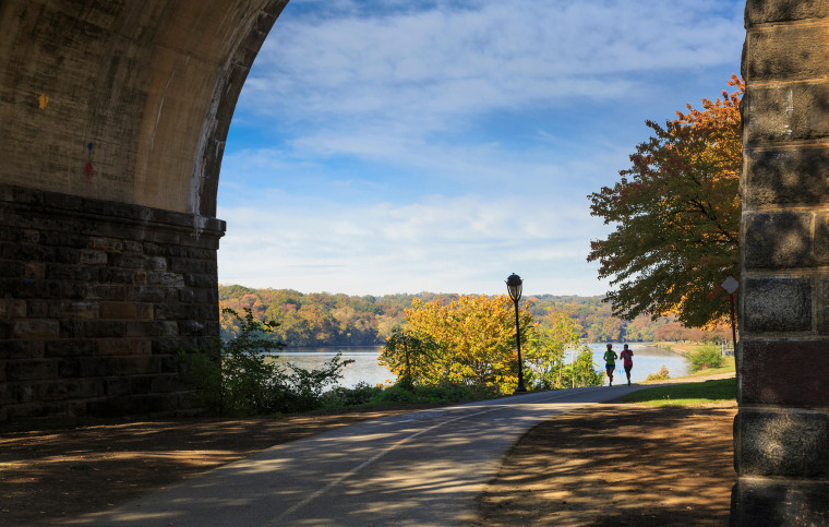 Located on the Schuylkill River, Fairmount Park is a scenic, historic spot to catch fresh air between activities.