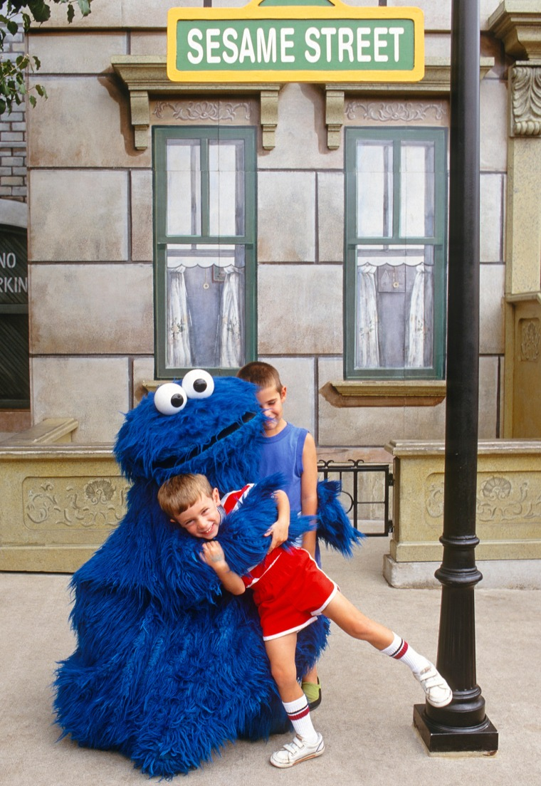 Kids will love to visit with the familiar faces of Sesame Street, like Cookie Monster, on a day trip to Sesame Place.