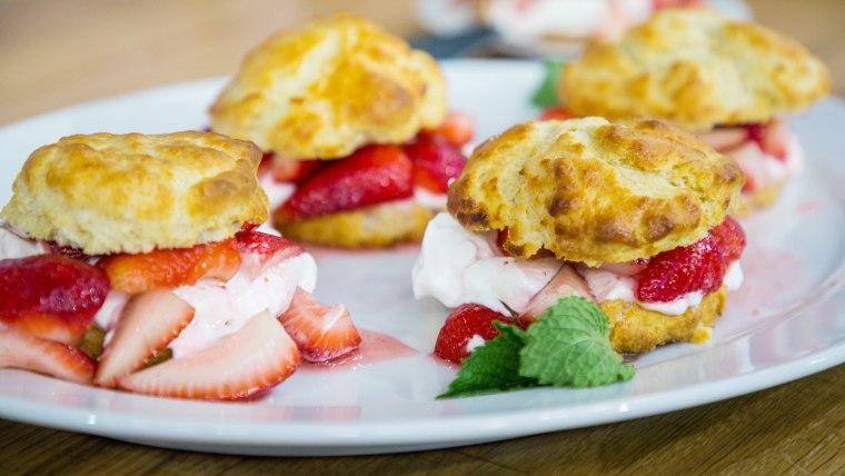 Joanna Gaines' Biscuits, Chicken Pot Pie, Scalloped Potatoes, Strawberry Shortcake