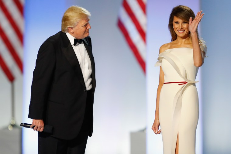 Hervé Pierre also designed the first lady's off-white inaugural ball gown.