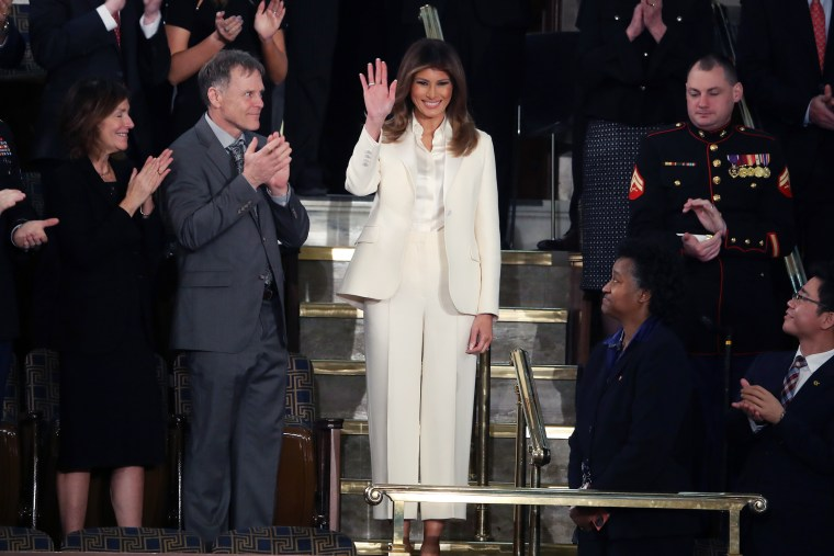 Trump wore a white pantsuit to her husband's first State of the Union address in January 2018.