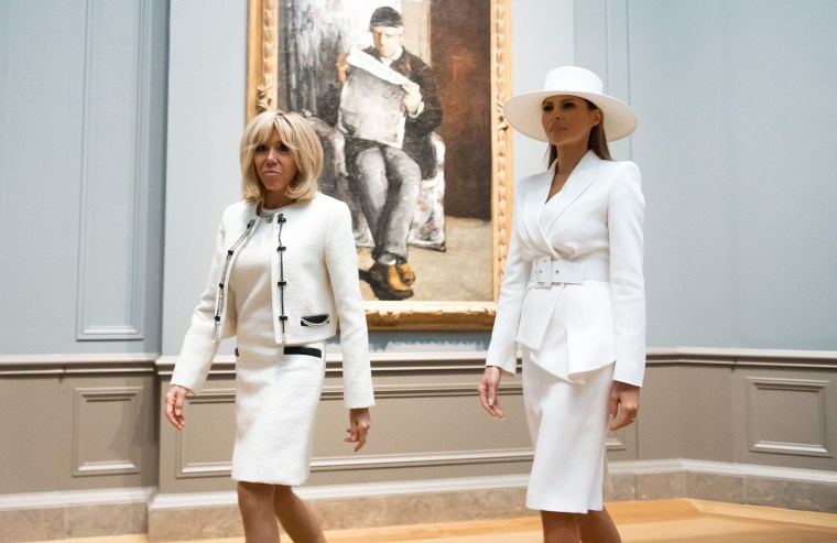 Both first ladies both opted for white skirt suits and pumps.