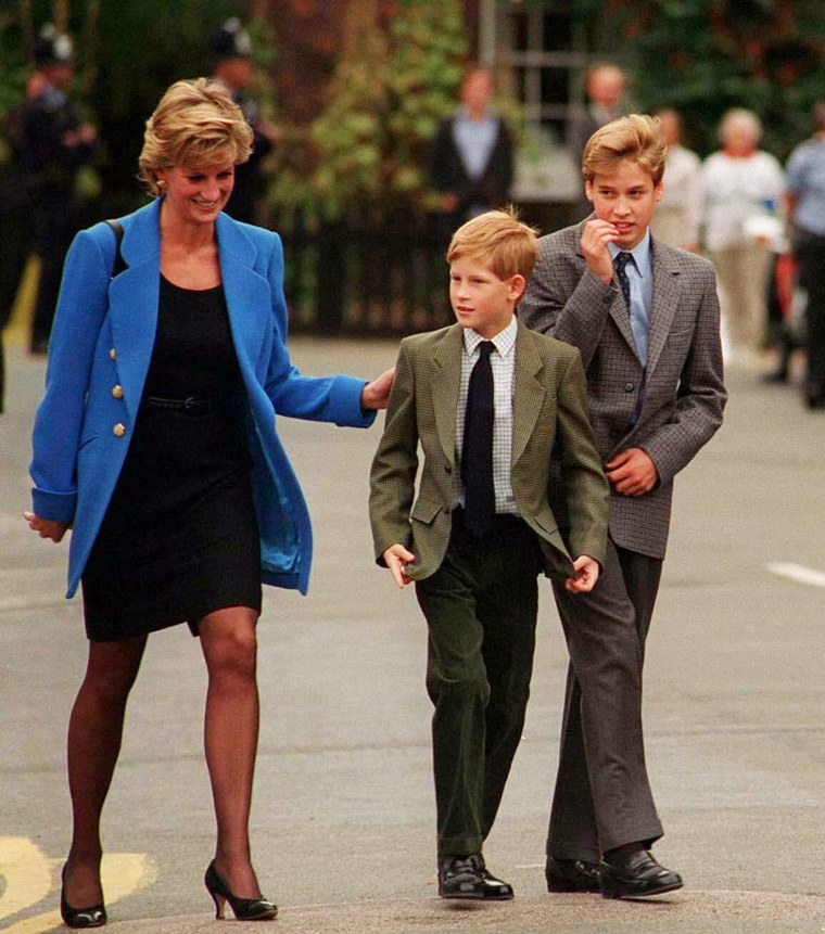 Prince William with Princess Diana and brother Prince Harry