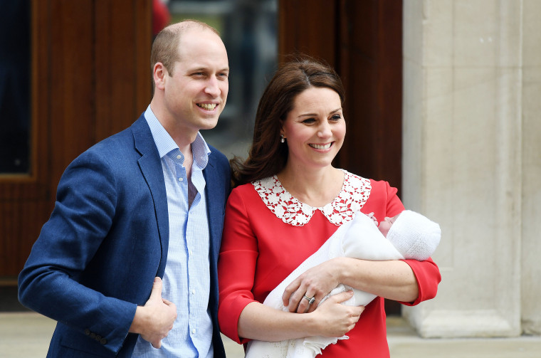 The Duke and Duchess of Cambridge with their newborn baby boy just hours after his birth on Monday, April 23.