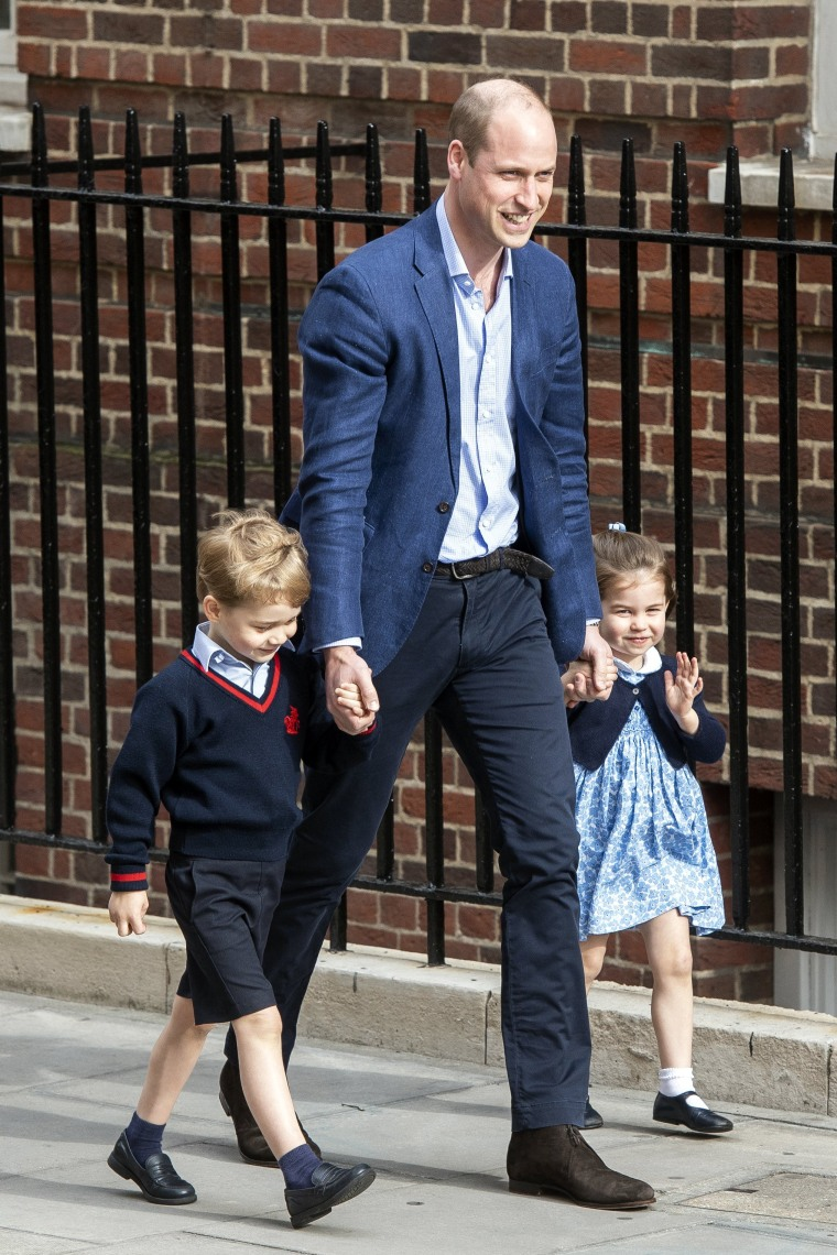 Prince William and his children Prince George and Princess Charlotte arrive to visit Duchess of Cambridge who gave birth to their newborn boy at St. Mary's Hospital in Paddington, London, on April 23, 2018. The baby boy is the royal couple's third child and fifth in line to the British throne.
