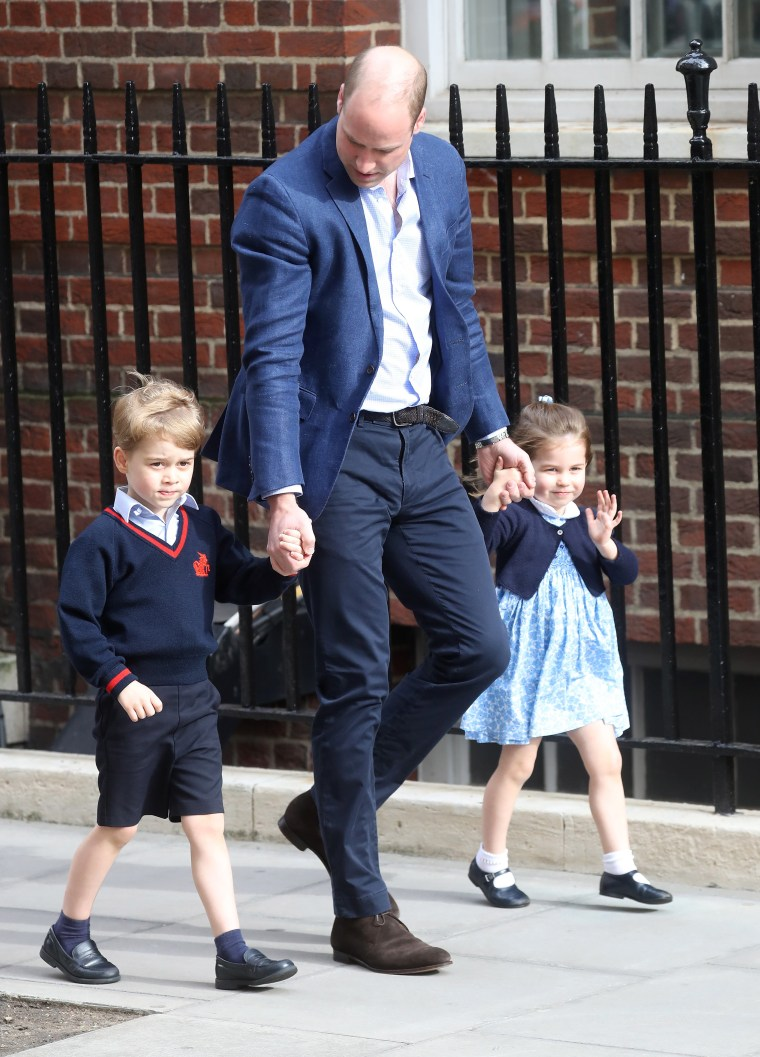 Prince William, Duke of Cambridge arrives with Prince George and Princess Charlotte after Catherine, Duchess of Cambridge gave birth to their son at St Mary's Hospital on April 23, 2018 in London. The Duchess safely delivered a boy at 11:01 am, weighing 8lbs 7oz, who will be fifth in line to the throne.