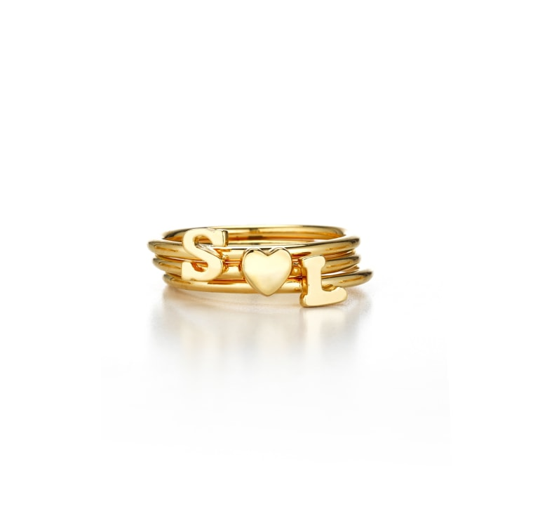 Stackable shea initial ring