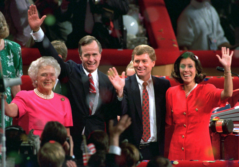 Bush and his wife, Barbara, left, stand with vice-presidential candidate Dan Quayle and his wife, Marilyn, at the conclusion of the 1988 Republican National Convention in New Orleans. Bush and Quayle won the subsequent election.