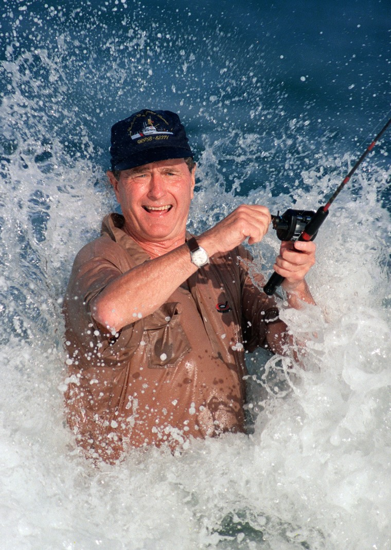 President elect George Bush is smashed by a wave 1