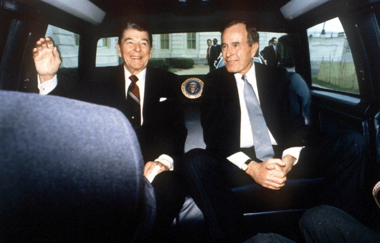 President Ronald Reagan And Vice President George Bush On Reagan's Last Day As Presiden