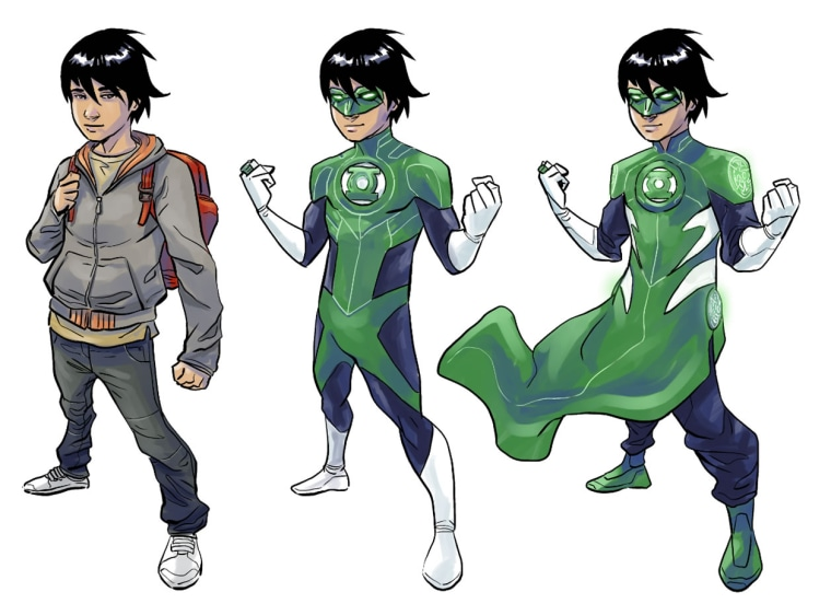 """Image: Sketches of Tai, a character in the upcoming \""""Green Lantern: Legacy,\"""" written by Minh Le."""