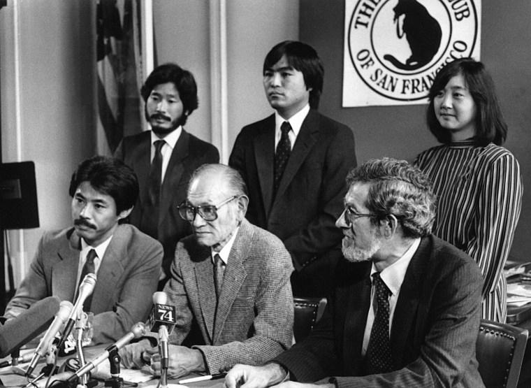 Image: Dale Minami, Don Tamaki, Fred Korematsu, Dennis Hayashi, Lorraine Bannai, Peter Irons