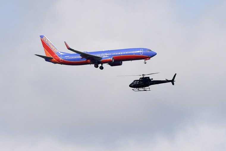 Image: A Southwest Airlines aircraft nears an airport