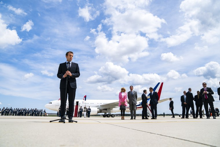 Image: French President Macron arrives at Andrews Air Force Base near Washington, DC