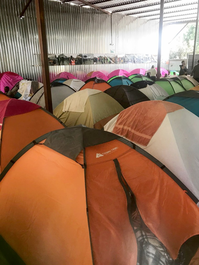 Image: Tents are being prepared at a shelter in Tijuana ahead of the migrant caravan's arrival.