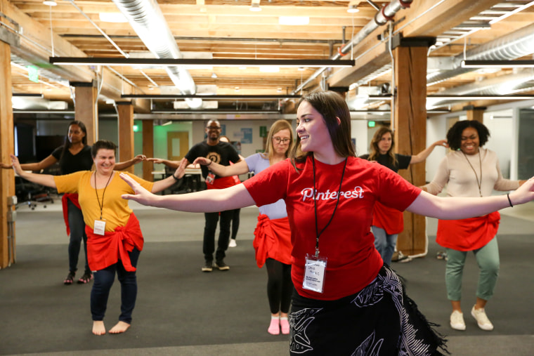 In her day job, Dana Faataui is a member of the Pinterest human resources team. But for this year's Knit Con, the hula and Tahitian dancer led a class of her co-workers in hula.