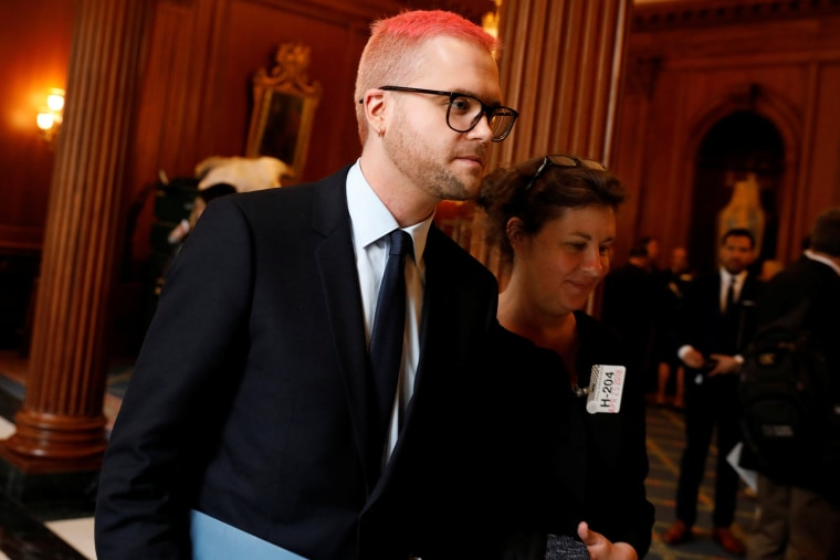 Image: Cambridge Analytica employee Christopher Wylie arrives to meet with Democratic members of the House Intelligence Committee at the U.S. Capitol in Washington