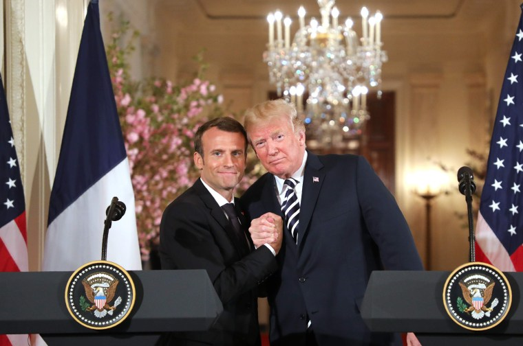 Image: U.S. President Donald Trump and French President Emmanuel Macron hold a joint press conference