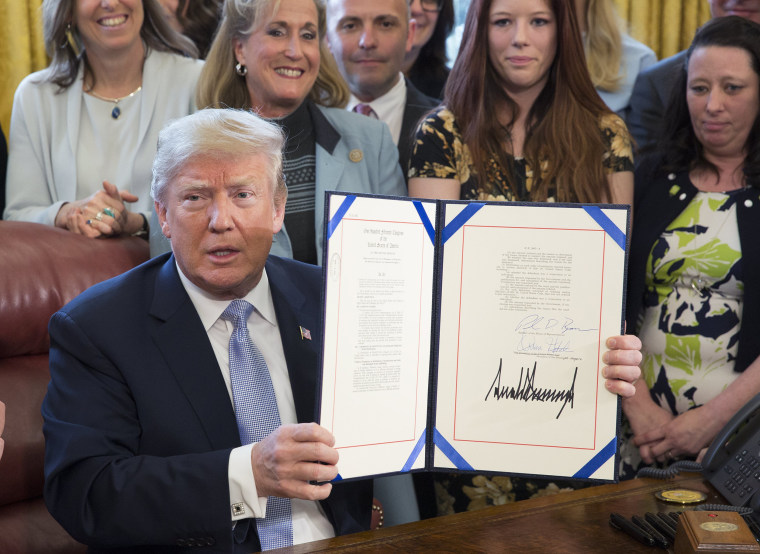 Image: Donald Trump signs the 'Allow States and Victims to Fight Online Sex Trafficking Act of 2017'
