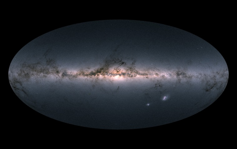 Gaia's all-sky view of our Milky Way galaxy and neighboring galaxies, based on measurements of nearly 1.7 billion stars.