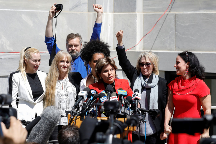 Image: Attorney Gloria Allred stands with accusers of actor and comedian Bill Cosby after a jury convicted him in a sexual assault retrial at the Montgomery County Courthouse in Norristown