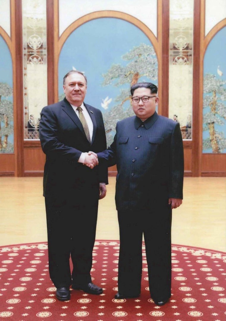 Image: U.S. government handout photo shows CIA Director Mike Pompeo meeting with North Korean leader Kim Jong Un in Pyongyang