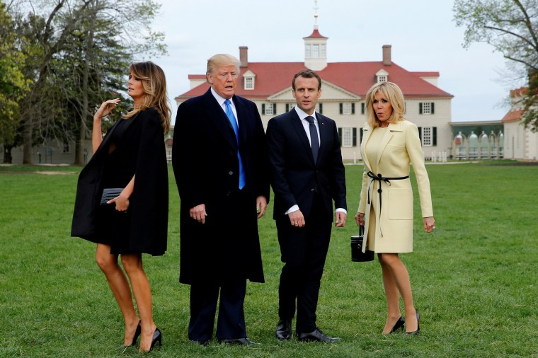 Image: Trump escorts France's Macron at the estate of the first U.S. President George Washington in Mount Vernon, Virginia outside Washington