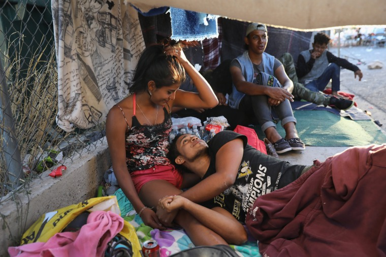Image: Honduran immigrants rest at a shelter while on their journey to the U.S.-Mexico border
