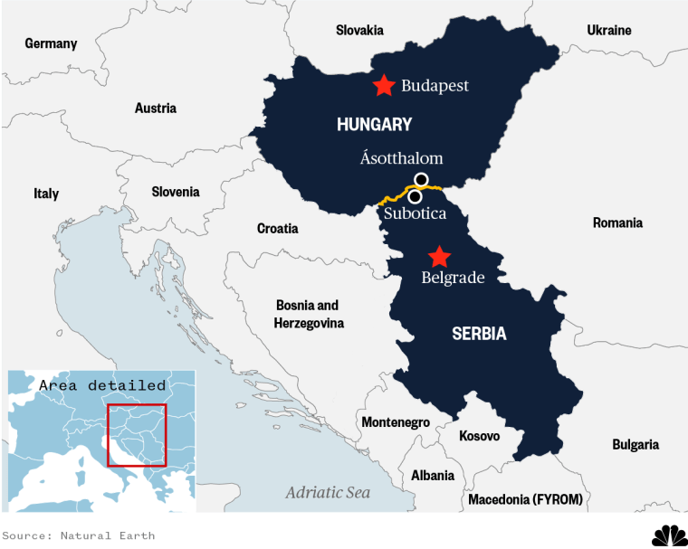 Image: A map showing Hungary and Serbia