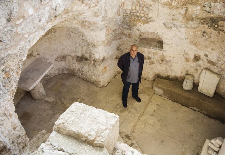 Image: Moni Sharma, 55, caretaker of the grounds of the Greek Orthodox seminary on Mount Zion