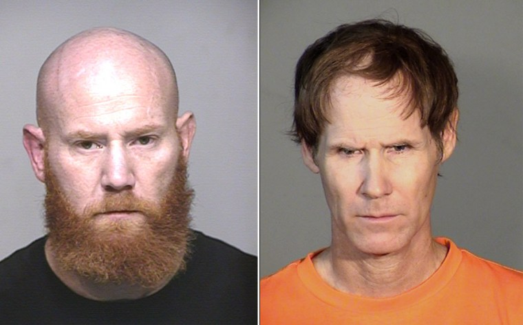 This combination of two mug shots shows on the left, Ian Mitcham, who was recently arrrested for murder and on the right, his brother Mark Mitcham, currently in prison for child molestation, whose DNA helped police find his brother.