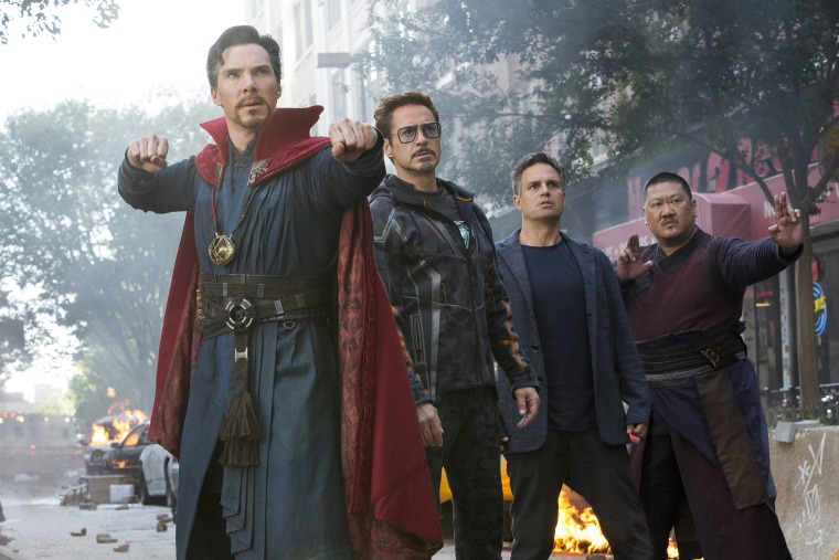 Image: Doctor Strange (Benedict Cumberbatch), Iron Man/Tony Stark (Robert Downey Jr.), Bruce Banner/Hulk (Mark Ruffalo) and Wong (Benedict Wong) in Avengers Infinity War.