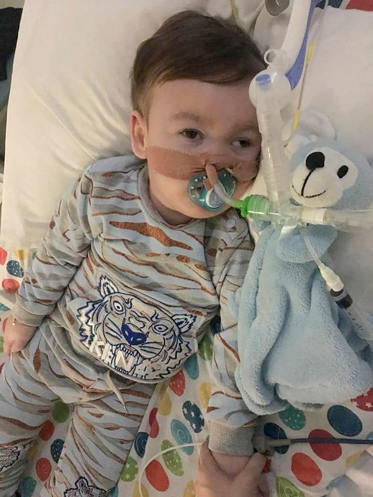 Image: British toddler Alfie Evans on April 5, 2018 at Alder Hey Children's Hospital in Liverpool. Evans died on April 28, 2018 after doctors withdrew life support.