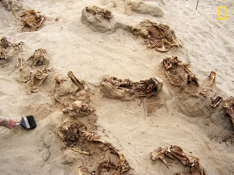 Image: This April 22, 2011 photo provided by National Geographic shows more than a dozen bodies preserved in dry sand for more than 500 years, at the Huanchaquito-Las Llamas site near Trujillo, Peru.