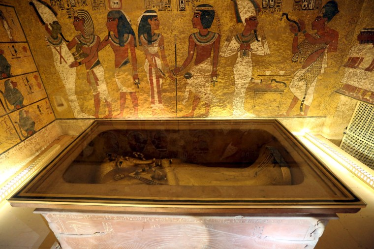 Image: The golden sarcophagus of King Tutankhamun in his burial chamber is seen in the Valley of the Kings, in Luxor