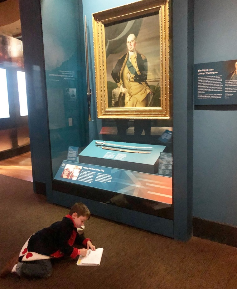 Oliver brings a notebook with him when visiting the Museum of the American Revolution. His goal is to learn five new things at each visit.