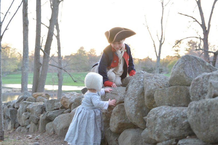 Oliver and his little sister, Wynnie, almost 2, occasionally attend Revolutionary War reenactments with their family.