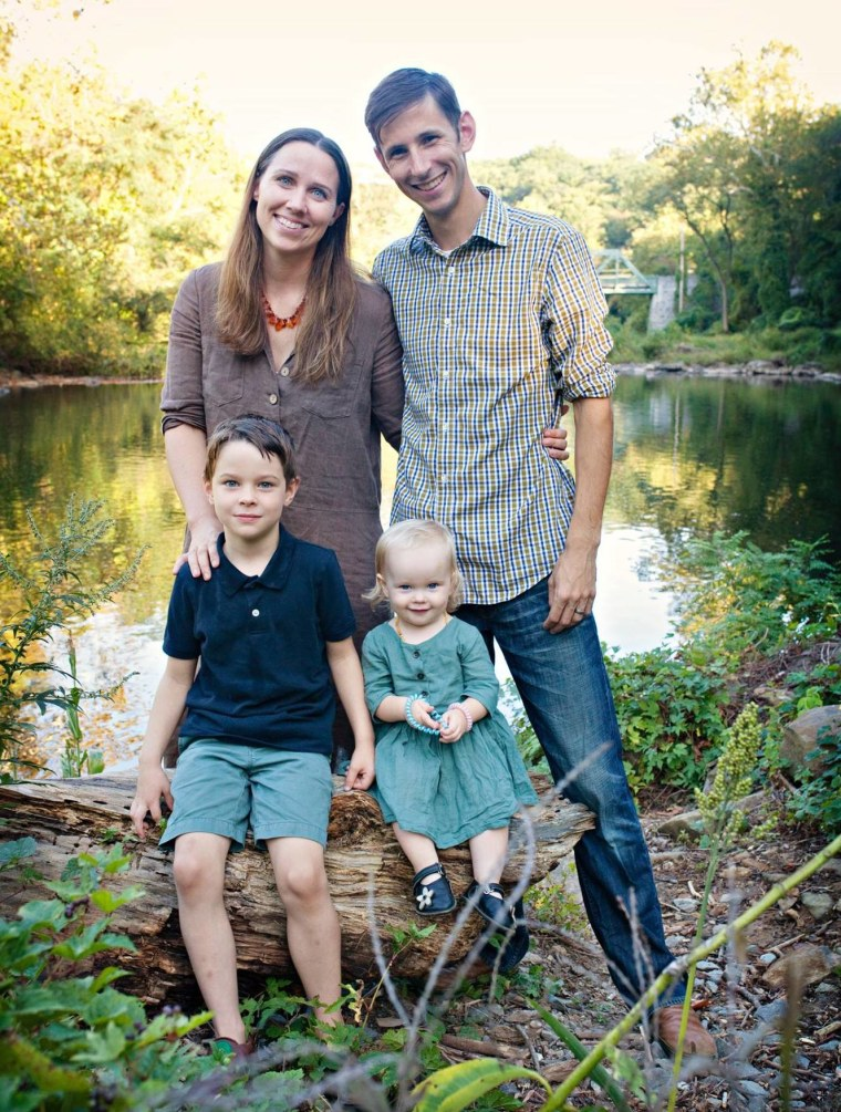 Chris Theibault, Jenna Dean, and their children, Oliver, 7, and Wynnie, almost 2.