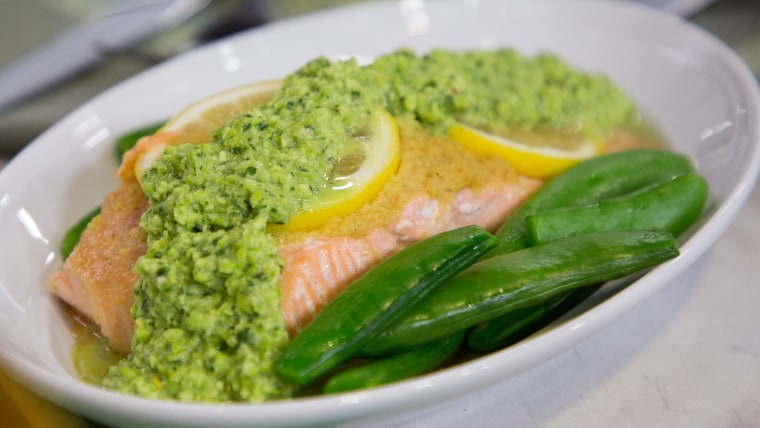 Ryan Scott's Grilled Steamed Salmon with Snap Peas and Edamame Pesto