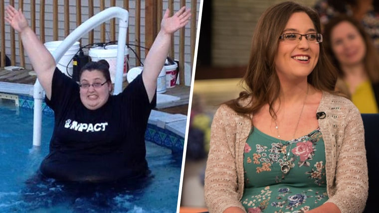 Brittany May, before and after her weight loss.