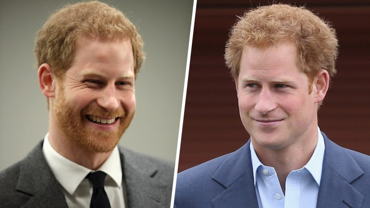 Prince Harry with his beard and without